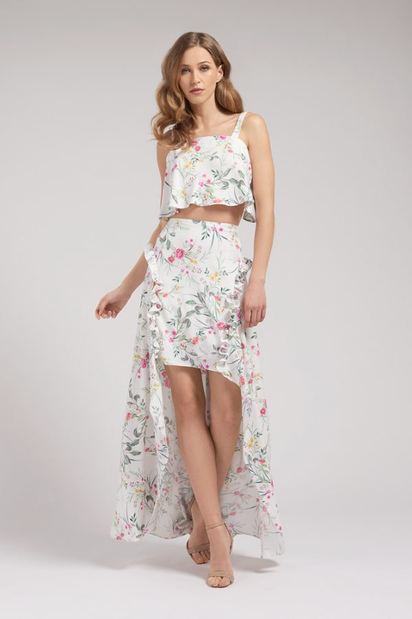 Gemma Bow Back Top and High Low Hem Skirt Front