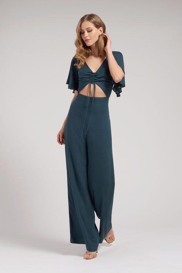 Rachel Flutter Sleeve Jumpsuit - Front